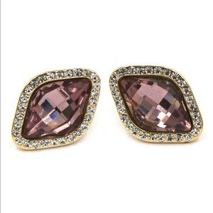 Noble maroon crystal rhombic earrings